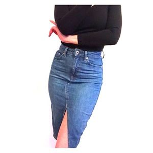 Denim Pencil Skirt with Front Slit